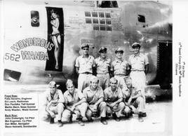 98th Bomb Sq Okinawa About August 1945 Front Row L R Felix Navarro Engineer Ed Leach Radioman Don Pavlizke Tail Gunner Martin Stern Nose